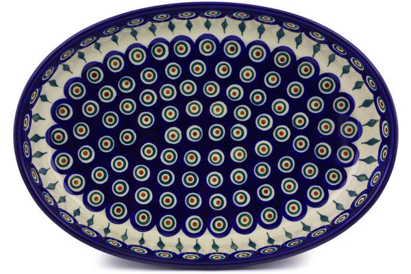 "14"" Oval Baker - Blue Peacock 