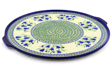 "16"" Pizza Plate - Blue Tulips 