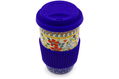 14 oz Travel Mug with Lid - DPLC | Polish Pottery House