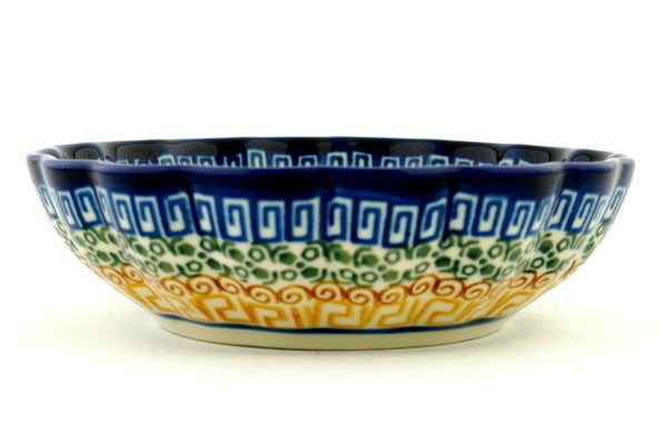 14 oz Scalloped Serving Bowl - Blue Autumn | Polish Pottery House