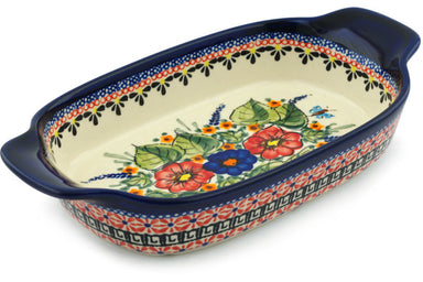 "5"" x 10"" Rectangular Baker with Handles - Butterfly Garden 