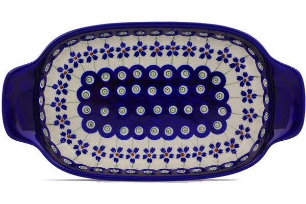 "5"" x 10"" Rectangular Baker with Handles - Floral Peacock 