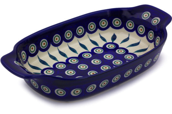 "5"" x 10"" Rectangular Baker with Handles - Blue Peacock 