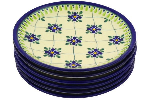 "8"" Set of 6 Salad Plates - Emerald Lattice 