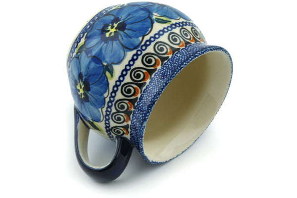 12 oz Bubble Mug - Blue Bouquet | Polish Pottery House