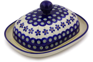 "8"" Butter Dish - Floral Peacock 