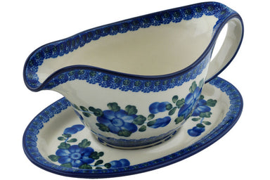 15 oz Gravy Boat with Saucer - Heritage | Polish Pottery House
