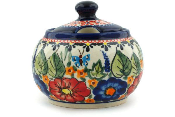 10 oz Sugar Bowl - Butterfly Garden | Polish Pottery House