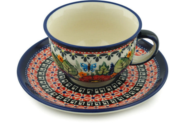 7 oz Cup with Saucer - Butterfly Garden | Polish Pottery House