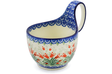 16 oz Soup Cup with Handle - Crimson Bells | Polish Pottery House