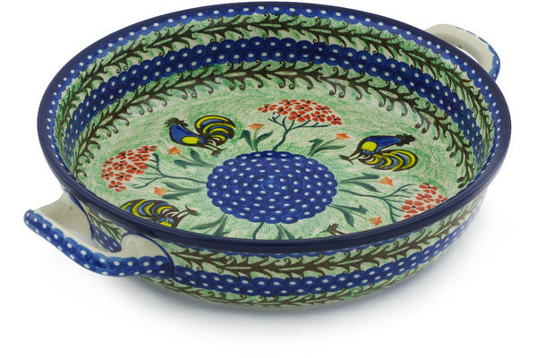"10"" Round Baker with Handles - Blue Rooster 