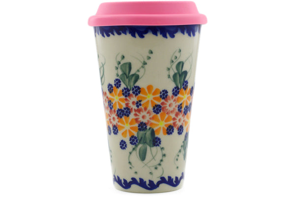 15 oz Travel Mug with Lid - P8944A | Polish Pottery House
