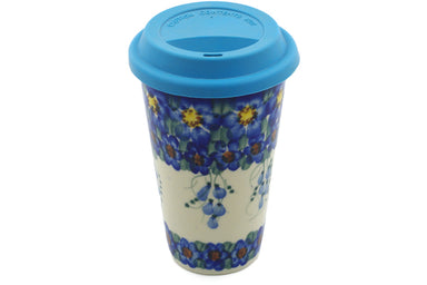 15 oz Travel Mug with Lid - P8946A | Polish Pottery House