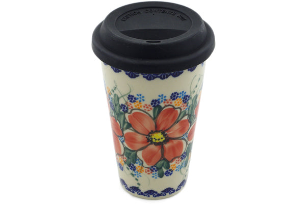 15 oz Travel Mug with Lid - P8945A | Polish Pottery House