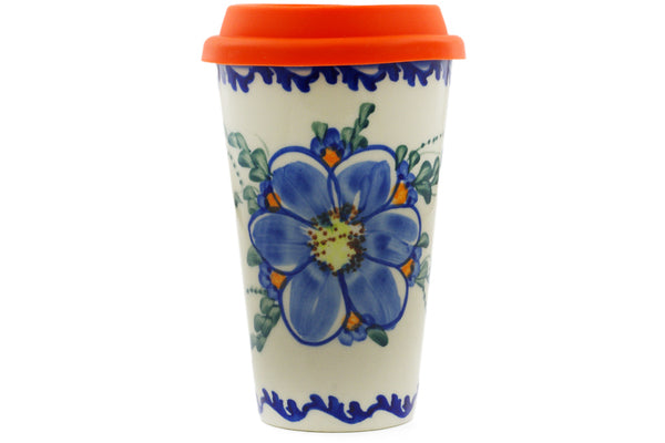 15 oz Travel Mug with Lid - P8942A | Polish Pottery House