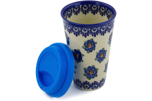15 oz Travel Mug with Lid - P8940A | Polish Pottery House