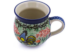 12 oz Bubble Mug - Blue Rooster | Polish Pottery House