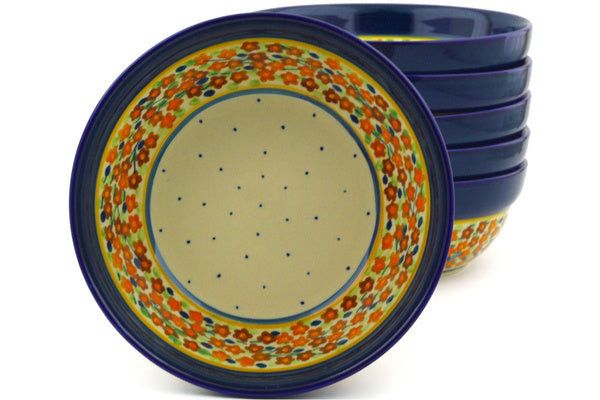 16 oz Set of 6 Bowls - Floral Spice | Polish Pottery House