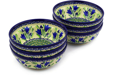 16 oz Set of 6 Bowls - Blue Tulips | Polish Pottery House