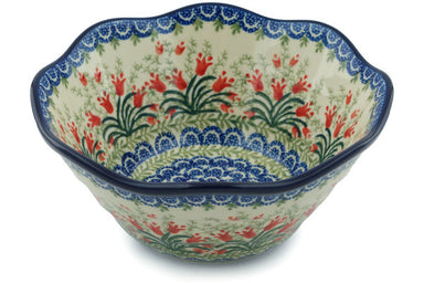 5 cup Serving Bowl - Crimson Bells | Polish Pottery House