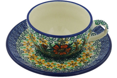 6 oz Cup with Saucer - U1491 | Polish Pottery House