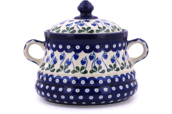9 cup Jar with Lid and Handles - Blue Bell | Polish Pottery House