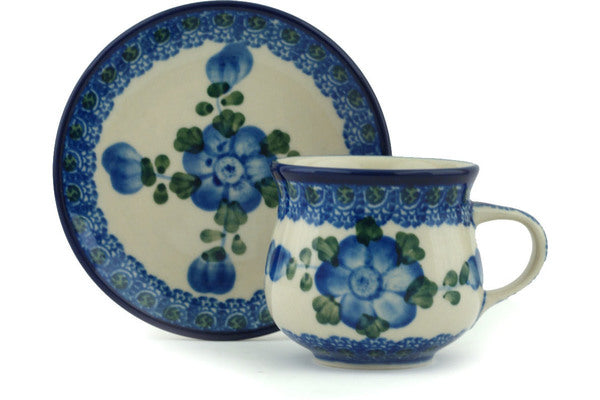 2 oz Espresso Cup with Saucer - Heritage | Polish Pottery House