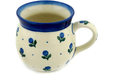 8 oz Bubble Mug - Blue Buds | Polish Pottery House