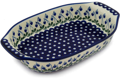 "9"" x 14"" Rectangular Baker with Handles - Blue Bell 