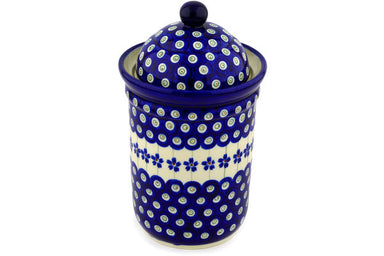 6 cup Canister - Floral Peacock | Polish Pottery House