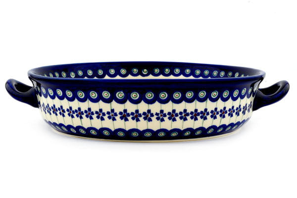 "10"" Round Baker with Handles - Floral Peacock 