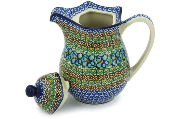 4 cup Pitcher with Lid - Moonlight Blossom | Polish Pottery House