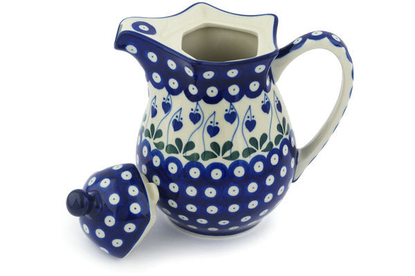 4 cup Pitcher with Lid - Blue Bell | Polish Pottery House