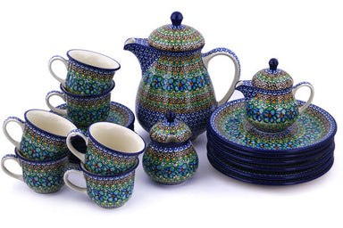 Coffee Set for Six - Moonlight Blossom | Polish Pottery House