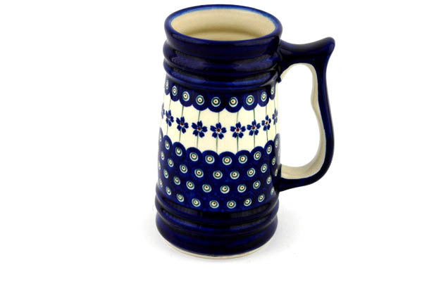 4 cup Stein - Floral Peacock | Polish Pottery House
