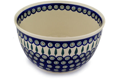 21 cup Serving Bowl - Peacock | Polish Pottery House