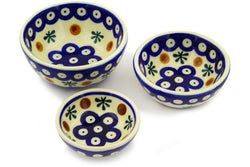 Set of 3 Nesting Bowls - Old Poland | Polish Pottery House