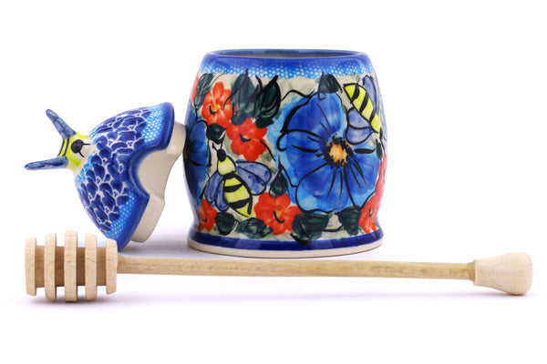 8 oz Honey Jar with Dipper - P7486A | Polish Pottery House