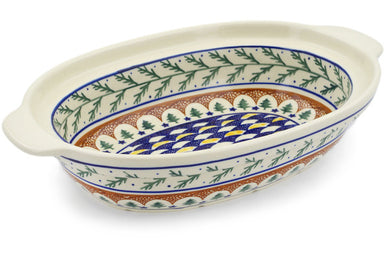 "13"" Oval Baker with Handles - Evergreen 