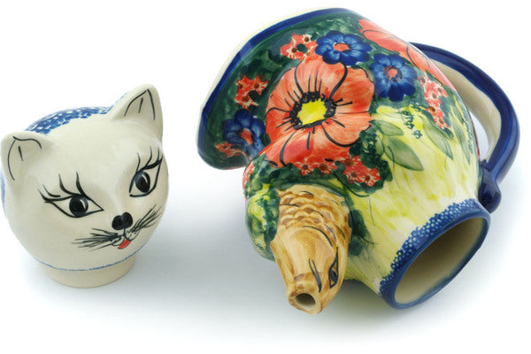 16 oz Cat and Fish Creamer - P5728A | Polish Pottery House