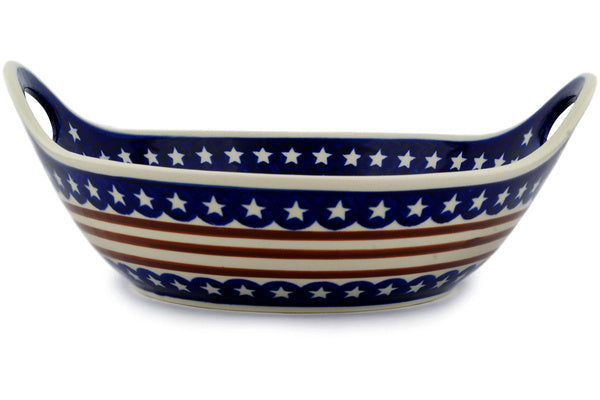 13 cup Serving Bowl with Handles - Stars & Stripes | Polish Pottery House