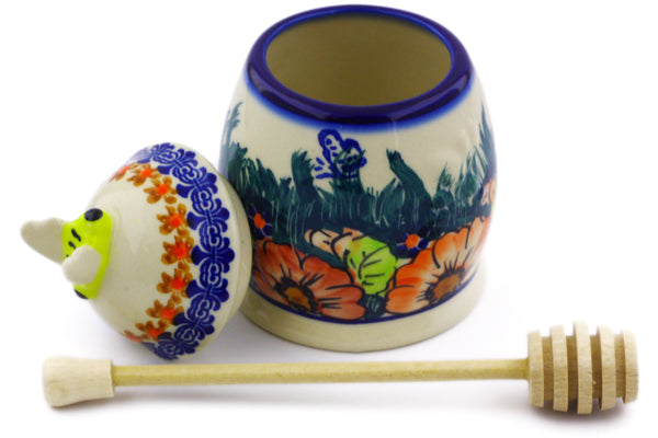 8 oz Honey Jar with Dipper - D86 | Polish Pottery House