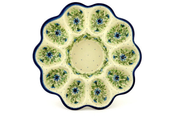 "11"" Egg Plate - Cornflower 