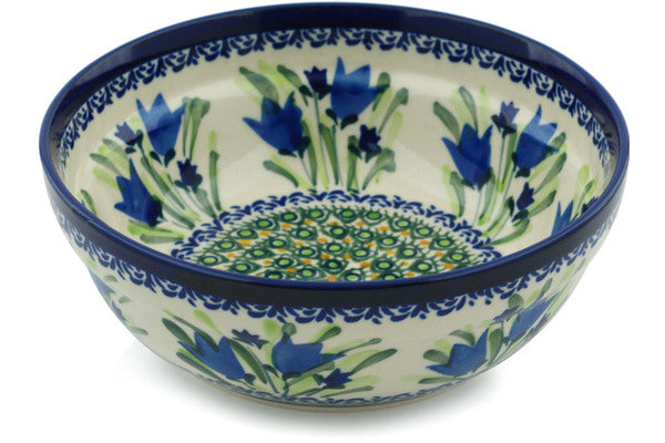 18 oz Cereal Bowl - Blue Tulips | Polish Pottery House