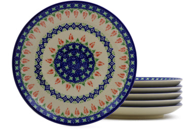 "Set of 6 7"" Dessert Plates - Coral Tulip 