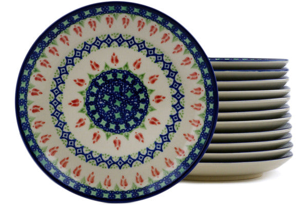"Set of 12 7"" Dessert Plates - Coral Tulip 