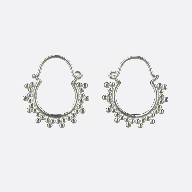 Dotwork Indian Hoop Earrings- Sterling