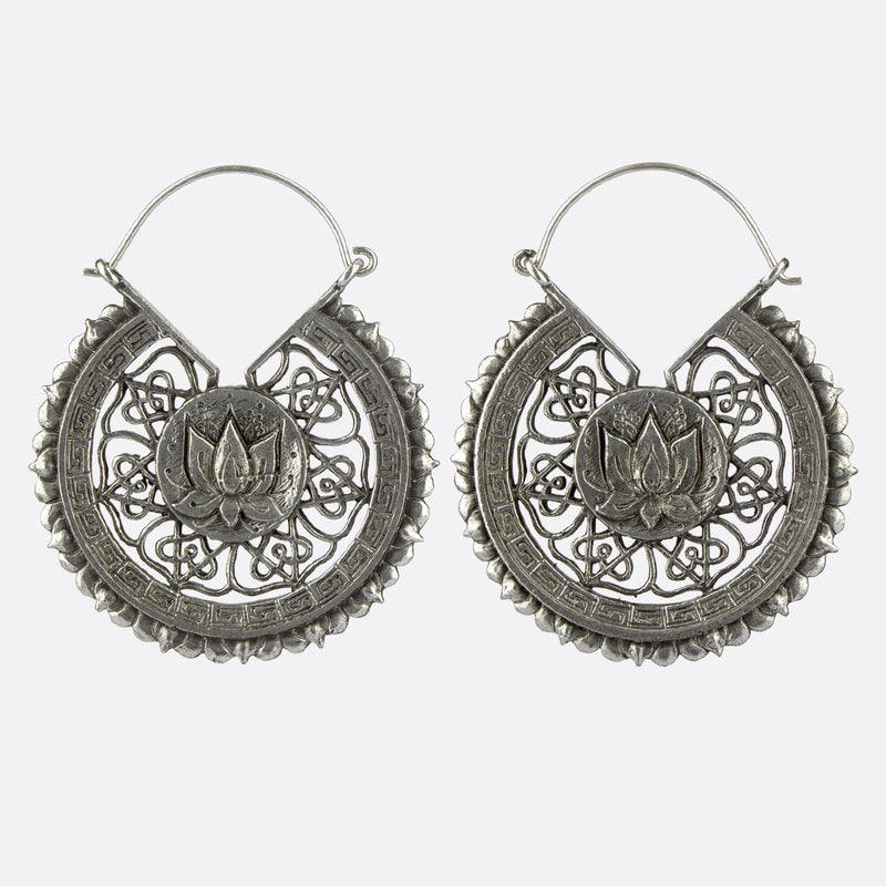 Lotus Flower Earrings- Silver
