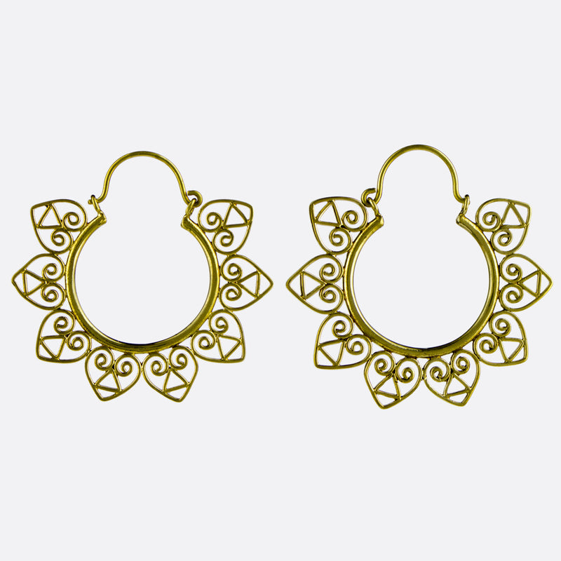 Accacia Heart Hoop Earrings- Gold
