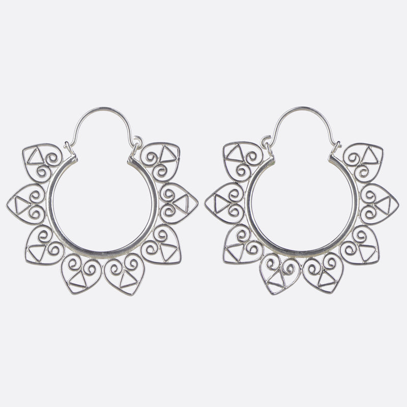 Accacia Heart Hoop Earrings- Silver